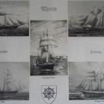 Postkort med bl.a. Thurø-skibe: kr.  3,- pr. stk. Sæt med 8 stk. kr. 20,-